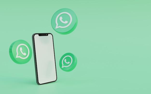 Logotipo de whatsapp con diseño de fondo verde de teléfono inteligente ilustración de render 3d limpio y simple
