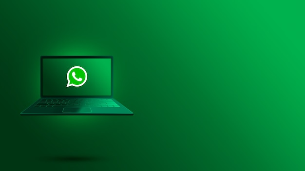 Logotipo de whatsapp en la pantalla del portátil