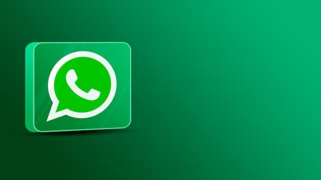 Logotipo de whatsapp en una plataforma de vidrio 3d