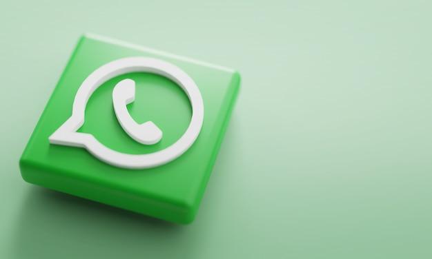 Logotipo de whatsapp representación 3d de cerca. plantilla de promoción de cuenta.