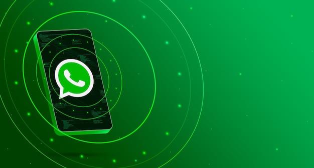 Logotipo de whatsapp en el teléfono con pantalla tecnológica, render 3d inteligente