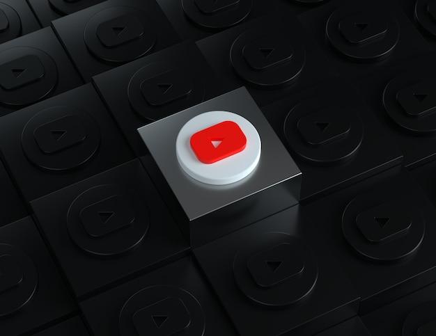 Logotipo de youtube en 3d sobre un soporte plateado con logotipos oscuros en el fondo
