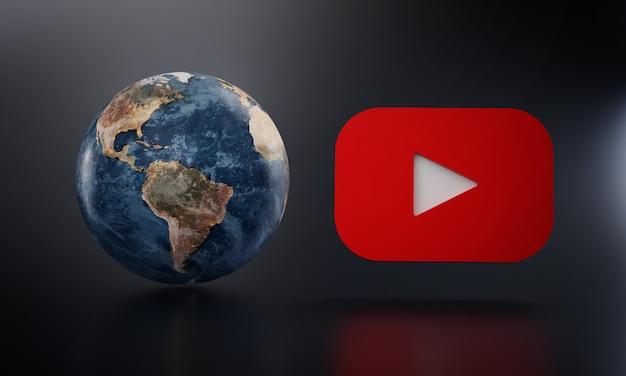 Logotipo de youtube al lado de la tierra representación 3d.
