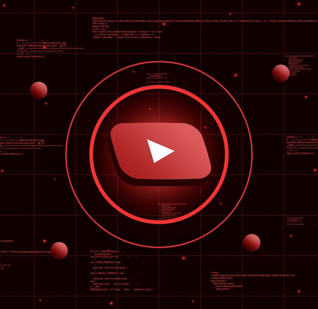Logotipo de youtube sobre fondo de tecnología realista