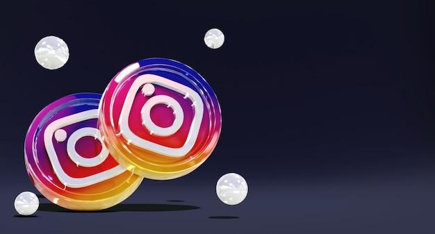 Logotipos de redes sociales de instagram brillantes en 3d con modelo de moneda y fondo oscuro