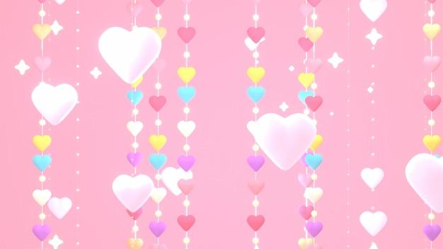 Luces de cadena de corazón renderizado 3d sobre fondo rosa