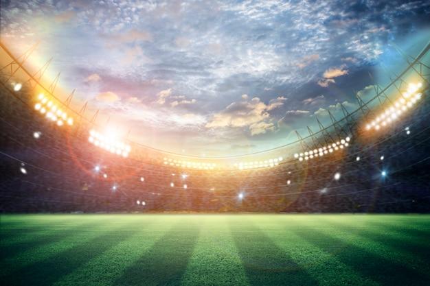 Luces en la noche y representación 3d del estadio