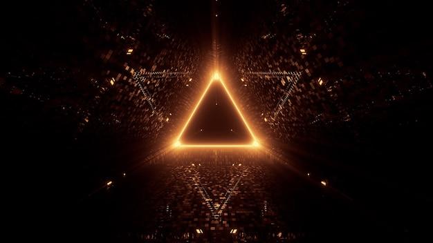 Luces láser de neón en forma triangular con fondo negro