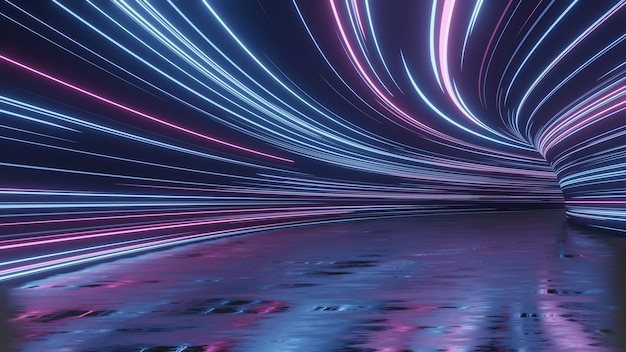 Luces led abstractas en túnel con reflejo en el piso de grunge