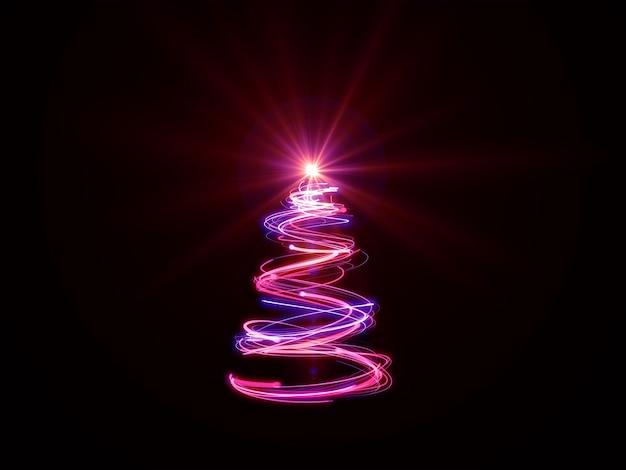 Luces mágicas del árbol de navidad rosado en negro.