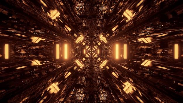 Luces de neón del corredor del túnel futurista