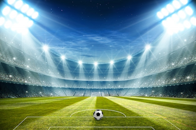 Luces en la noche y el estadio de fútbol 3d rendering
