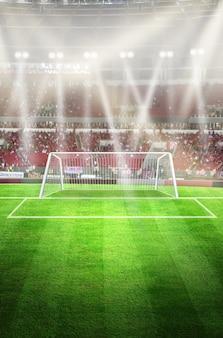 Luces en la noche y el estadio de fútbol representación 3d punto de meta de hierba verde
