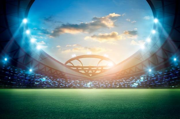Luces en la noche y el estadio de render 3d
