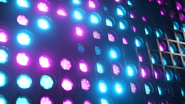 Luces de pared parpadeantes. luces intermitentes linternas para clubes y discotecas. lámpara halógena para discoteca. espectro de neón moderno.