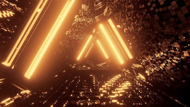 Luces tecno futuristas de ciencia ficción con formas triangulares frescas