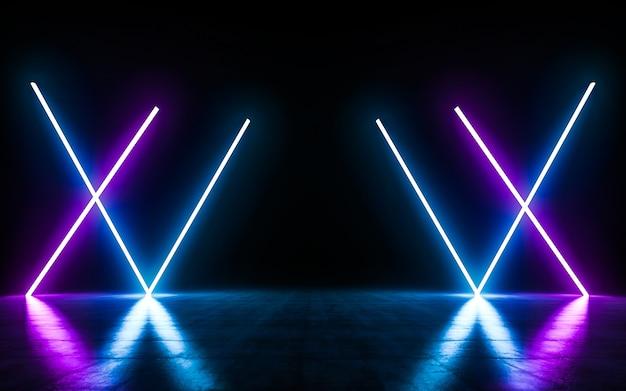 Las luces de tubo de neón azul y púrpura futuristas de sci fi brillan con reflejos en el espacio vacío.