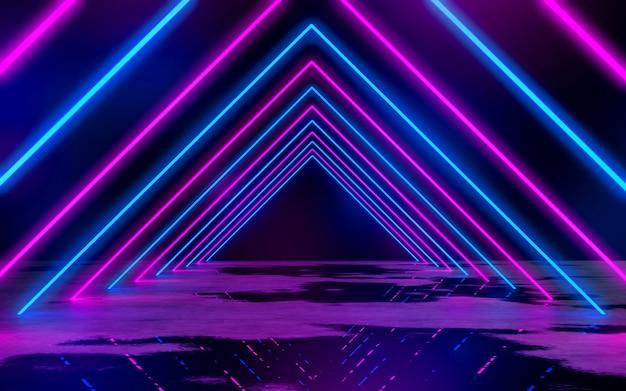 Luces de tubo de neón azul y púrpura en la habitación oscura vacía fondo de ilustración de representación 3d