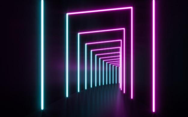 Luces de tubo de neón futurista de ciencia ficción azul y púrpura brillantes. renderizado 3d