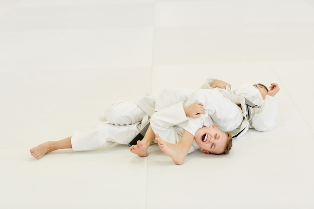 Lucha entre dos judoistas