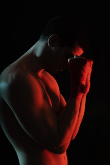 Luchador cerca retrato antes de la pelea