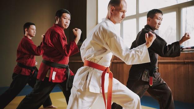 Luchadores en diferentes colores keikogi haciendo posturas de lucha.