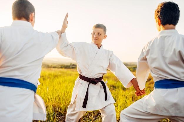 Luchadores de karate junior, lucha de entrenamiento al aire libre