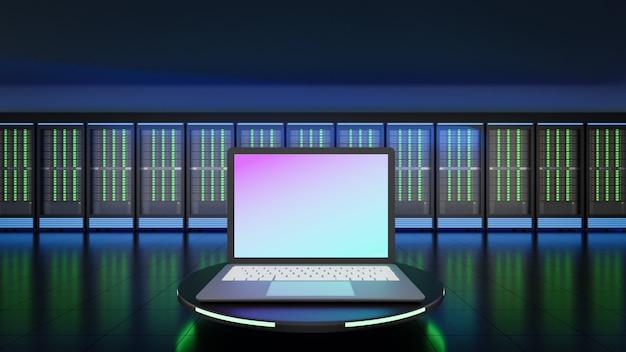 Lugar de computadora portátil con fondo de servidor de alojamiento. imagen de ilustración de renderizado 3d.