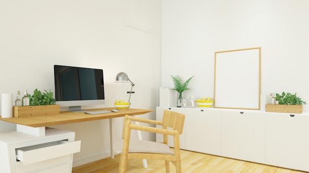Lugar de trabajo en casa u oficina - representación 3d