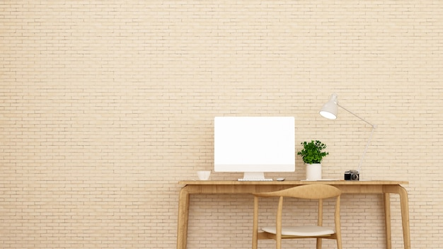 Lugar de trabajo y pared de ladrillo crema decorar.