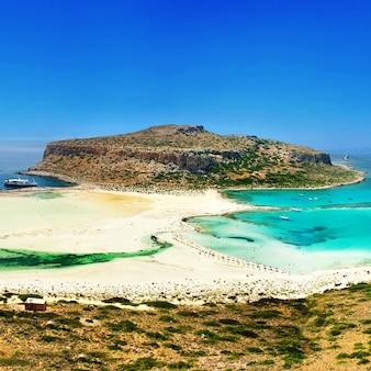 Los lugares y playas más bellos de la isla de creta - bahía de balos (gramvousa). grecia