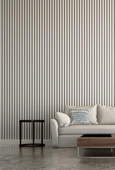 El lujoso diseño interior mínimo de la sala de estar y la pared de textura de azulejos pintados de color blanco