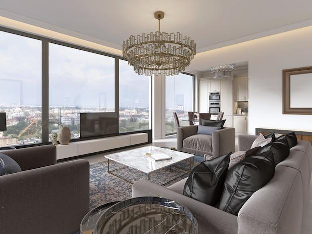 Lujoso interior de estilo contemporáneo de sala de estar con unidad de tv, sofá, sillones, mesa de café y mesa de comedor con cocina. representación 3d.