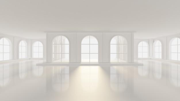 Lujoso interior vacío blanco con ventanas. representación 3d