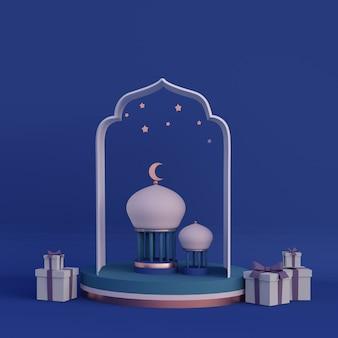Luna creciente linterna árabe ramadan kareem mawlid iftar isra miraj representación 3d