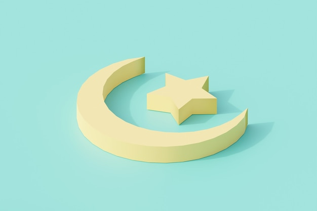 Luna y estrella para signo y símbolo de religión islámica.