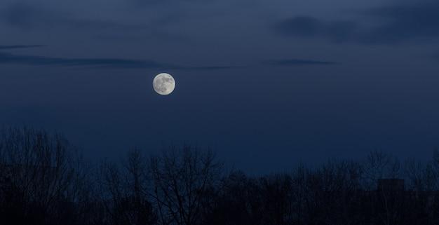 Luna llena en el cielo oscuro durante la salida de la luna
