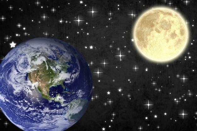 Luna y planeta tierra