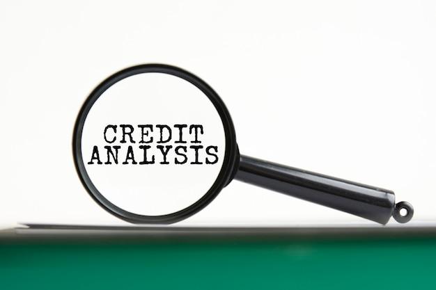 Lupa con análisis de crédito de texto en portátil con páginas verdes, fondo blanco.