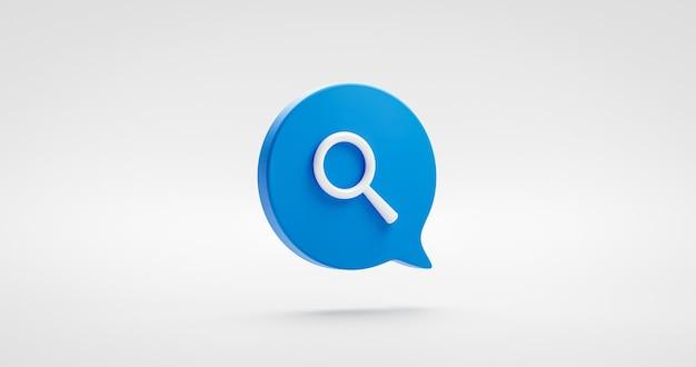 Lupa azul buscar ilustración icono signo comercial o investigación de sitio web encontrar símbolo de internet aislado sobre fondo blanco con comunicación de elemento gráfico de diseño plano. representación 3d.