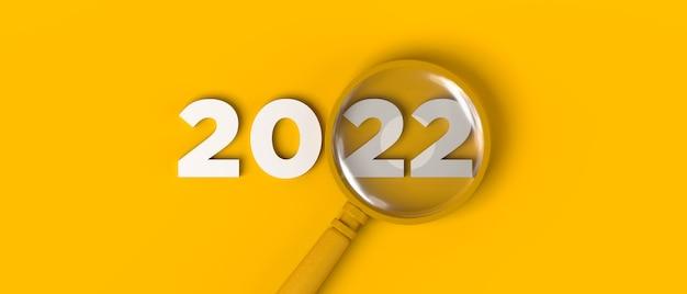 Lupa centrada en el año 2022. copie el espacio. ilustración 3d.