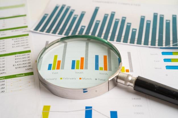 Lupa sobre gráficos papel cuadriculado desarrollo financiero cuenta bancaria