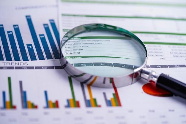 Lupa sobre tablas, gráficos, papel de hoja de cálculo. desarrollo financiero, cuenta bancaria, estadísticas, análisis de inversión, economía de datos de investigación, negociación bursátil, oficina comercial.