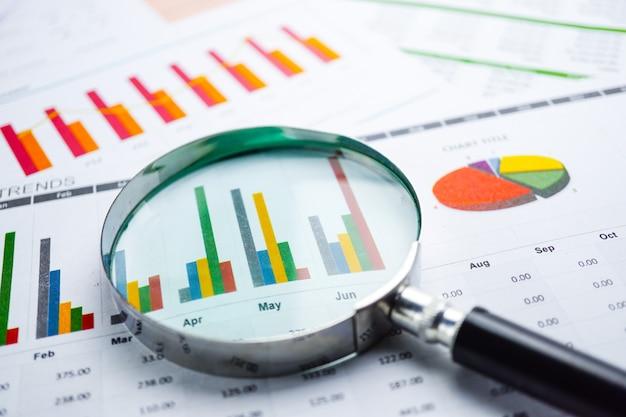 Lupa sobre tablas, gráficos, papel de hoja de cálculo. desarrollo financiero.