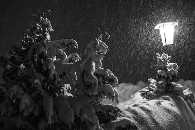 La luz de la linterna ilumina la nieve que llega por la noche.