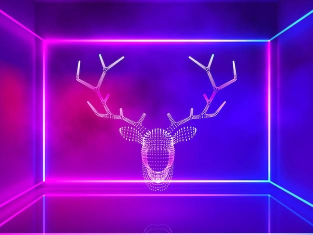 Luz de neón con cabeza de reno con humo y línea rectangular, navidad y feliz año nuevo concep.