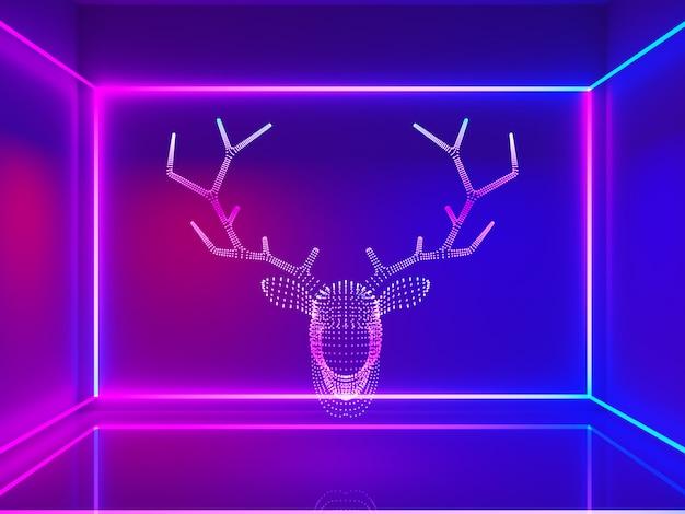 Luz de neón cabeza de reno con linea rectangular.