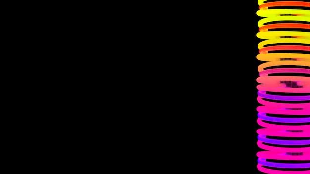 Luz de neón espiral iluminada en el lado del fondo negro