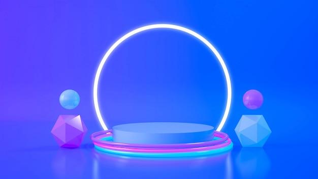 Luz de neón de la etapa del círculo. fondo futurista abstracto