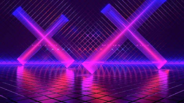 Luz de neón, fondo futurista abstracto, concepto ultravioleta, render 3d